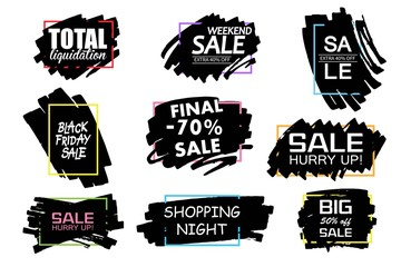 Universal sale black paint background, frame.
