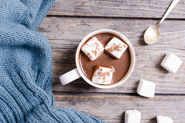 Foto auf Acrylglas Schokolade Hot chocolate with marshmallow