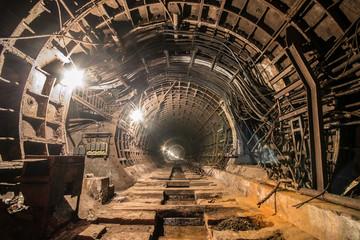 Abandoned subway tunnel. Kiev, Ukraine. Kyiv, Ukraine
