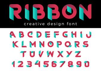 Design vector Font of Ribbon Title, Header, Lettering, Logo