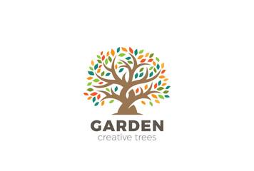 Garden Tree abstract Logo design vector template