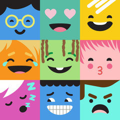 Emoji abstract vector. Funny characters faces. Smile emotions