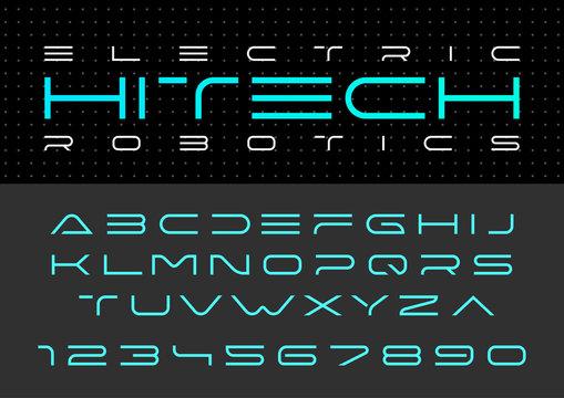 Futuristic vector Font design Digital Virtual Reality Technology