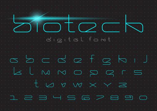 Futuristic vector Font. Digital Virtual Reality Technology