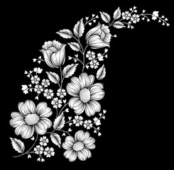 black and white floral motif