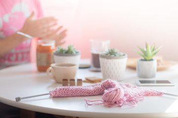 Knitting Crochet Club Creative Workspace Needlewoman White Round Table Cozy Workplace Vintage Sunny Bright Living Room Working at Home Concept