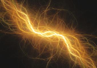 Hot yellow lightning, electrical energy background