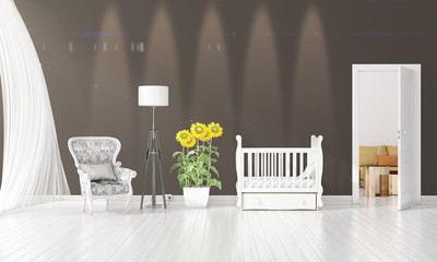 Modern interior design of nursery room in vogue with plant and copyspace in horizontal arrangement. 3D rendering.