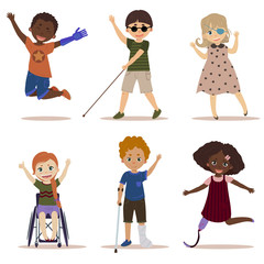 Happy and active children with disabilities