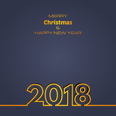 Dark blue Happy New Year 2018 Background. New Year and Xmas Design Element Template. Vector Illustration.