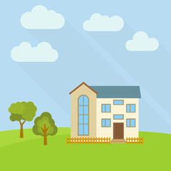 Lone two-storey house in a field with two green trees. Vector illustration.