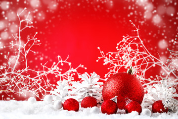 Merry Christmas and Happy New Year. A New Year's background with New Year decorations, Background with copy space.