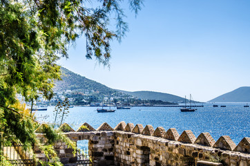 Ships in the Gulf of Bodrum. View from the fortress of Bodrum.