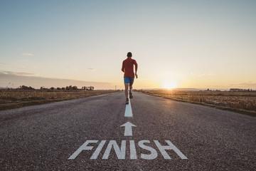 Man running to finish