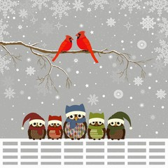 Greeting card with Christmas owls