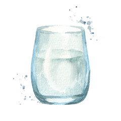 Glass of water. Hand drawn watercolor illustration