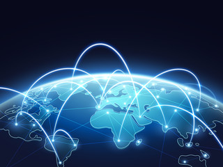 Abstract network vector concept with world globe. Internet and global connection background