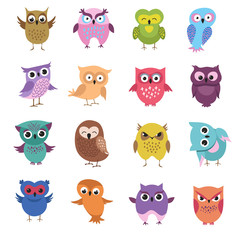 Tuinposter Uilen cartoon Cute cartoon owl characters vector set