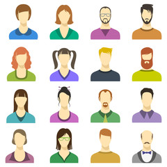 Male and female faces vector icons. Human persons modern business avatars