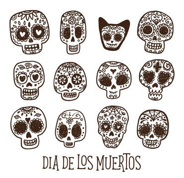 Dias de los Muertos - Day of the Dead in Mexico. Vector greeting card with hand drawn doodle sugar skulls.