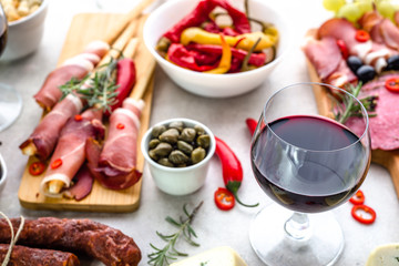 Traditional spanish tapas bar or wine snack set on table, food selection, appetizers of mediterranean diet