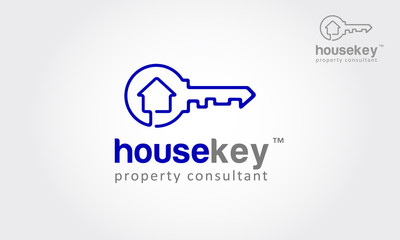 Vector logo design element on white background. Real estate, key, house or home made from one direction line. it's modern, simple and clean design.