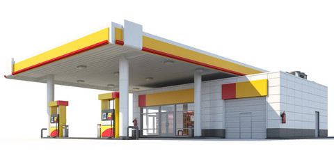 3d Rendering of a Gas station isolated on white background. 3D render.