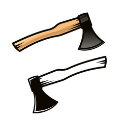 Carpenter axe in cartoon style. Color and black and white versions. Vector illustration.