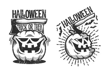 Two halloween logos in retro style with pumpkin and ax sticking out of it. Worn effect on a separate layer and can be easily disabled.