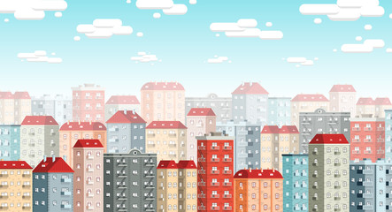 Skyline of the European city with colored retro houses, blue sky and clouds. Morning urban panorama in flat style.