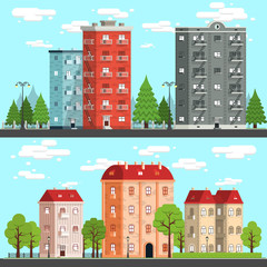 Cityscapes on a fine day. Houses, trees, fences, road, street lights. Vektor detailed illustration - two options.