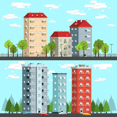 Group of multi-storey houses surrounded by trees, street lamps, cars. City landscape vector illustration.