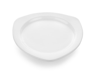 white plate and bowl on white background