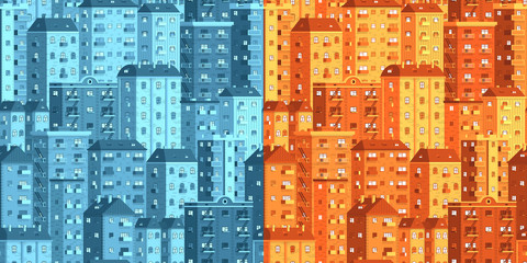 Multi-storey houses seamless vector pattern - 2 option, dawn and dusky tones. Included in swathes panel.