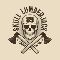 Vintage monochrome Lumberjack logo, tattoo with  skull and crossed axes. Worn texture on  separate layer and can be easily disabled.
