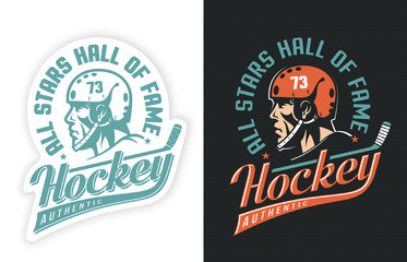 Stylish sports retro logo with hockey player, stick and inscription. Two options - sticker on white and colored emblem on black background. Dot texture is grouped separately and can be easily removed.
