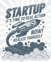 Startup retro poster with a rising rocket and halftone dots print vintage effect.