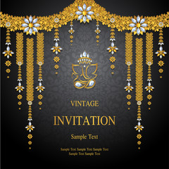 Wedding Invitation card templates with gold patterned and crystals on background color.