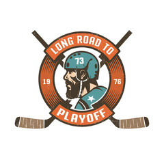 Hockey playoff logo with bearded player's head in retro helmet,  circular ribbon and crossed sticks. Worn texture on  separate layer and can be easily disabled.