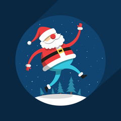 Funny running Santa Claus in flat style against the background of night, snow and fir-trees.