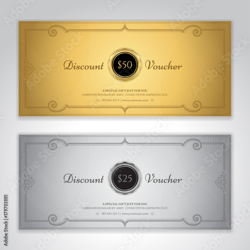 gift certificate voucher gift card or cash coupon template in vector format