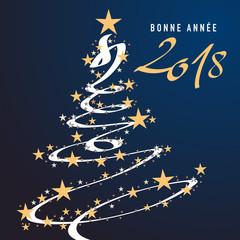 carte de vœux - 2018 - bonne année - vœux - noël - carré - sapin - étoile - guirlande