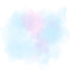 Blue and pink watercolor painting textured on white paper isolated on white background