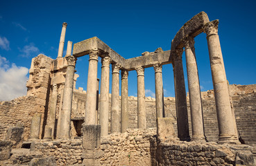 Poster Ruine Ancient Roman ruins, historical monuments. Theater in Tunisia. Journey.