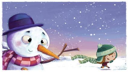 muñeco de nieve con niño