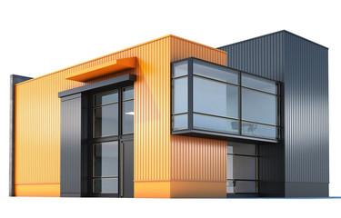 3d Rendering of a building on white background.