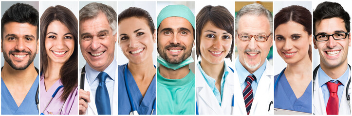 Group of medical workers portraits
