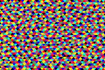 Яркий сочный разноцветный треугольный фон. Все объекты сгруппированы по цветам. Векторная иллюстрация.