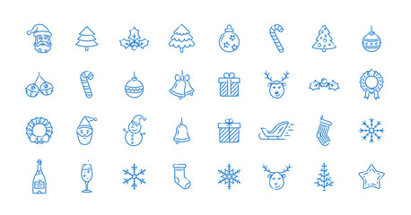Christmas icon set. Linear colored vector icons for Merry