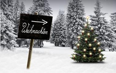 Wall Mural - Schild Weihnachten im Winterwald